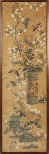 Set of four painted silk panels, Chine, 19th century -