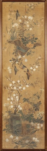 19th century - Set of four painted silk panels, Chine, 19th century