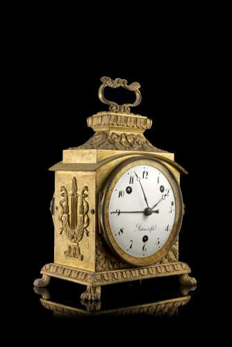 Gilted bronze Pendule d' Officier, early XIX cent., dial signed Dubois   - Clocks Style Empire