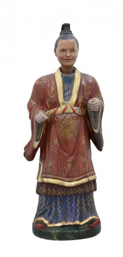 Large italian polychrome plaster nodding head figure, half XIX century