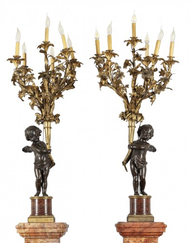 Pair of monumental six lights candelabra on marble base, France late 19th century