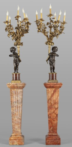 Pair of monumental six lights candelabra on marble base, France late 19th century - Lighting Style Napoléon III
