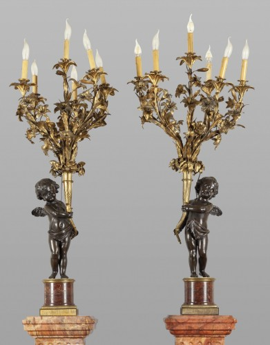 Lighting  - Pair of monumental six lights candelabra on marble base, France late 19th century