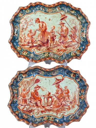 Paire of trays in papier maché, Piemonte, Italy, half 18th century