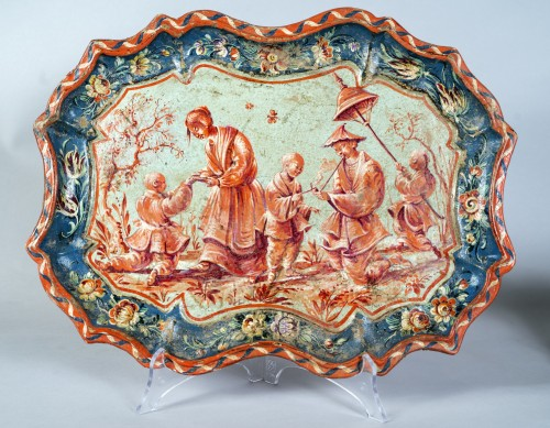 Paire of trays in papier maché, Piemonte, Italy, half 18th century - Decorative Objects Style Louis XV