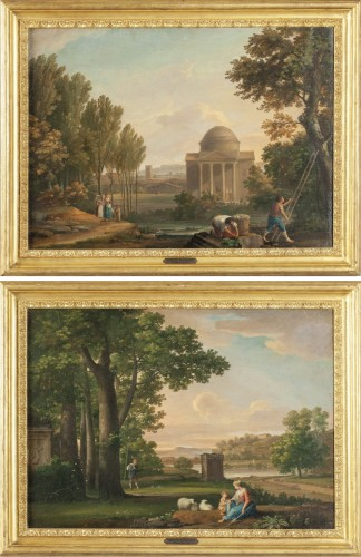 Paire of neoclassical landscapes, G. Bacigalupo ( 1744 - 1821 )