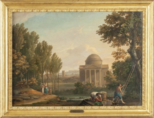Paire of neoclassical landscapes, G. Bacigalupo ( 1744 - 1821 ) - Paintings & Drawings Style Louis XVI