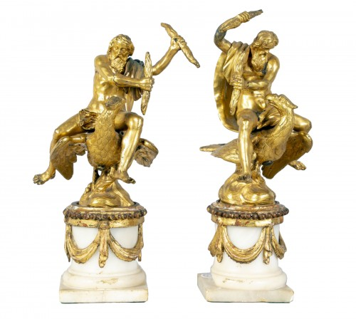 Pair of gilt bronze sculpture, depicting Jupiter, 18th century