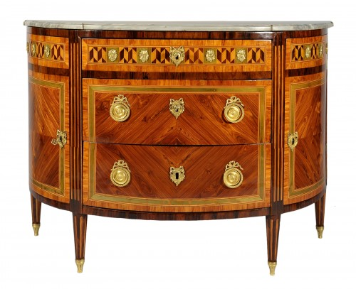 Important Demi lune chest of drawers, G. A. Viglione, Turin, end XVIII