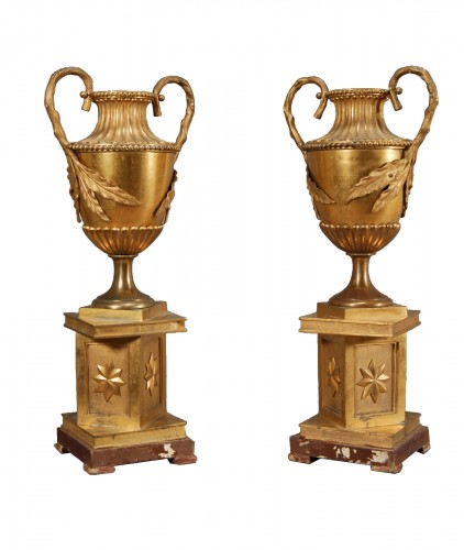 Pair of gilted bronze vases, Italy late 18th century