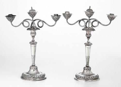 Pair of silver candlesticks ( Doppieri ), Genoa, early XIX century - Antique Silver Style