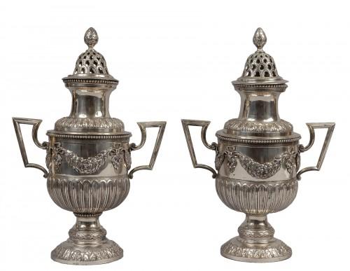 Pair of silver pot pourri vases, Milano, late 18th century