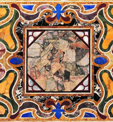 Decorative Objects  - Top of rare marbles and semi precious stones, Italy, XIX century