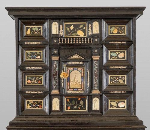 Furniture  - Ebonized wood cabinet with precious marble tiles, Florence, XVII century