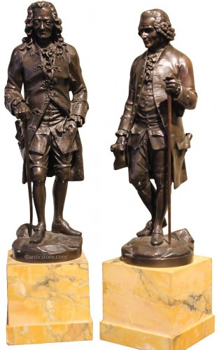 Early 19th century bronze figure of Voltaire and Rousseau