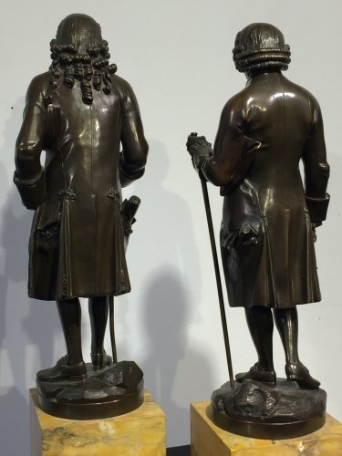 19th century - Early 19th century bronze figure of Voltaire and Rousseau