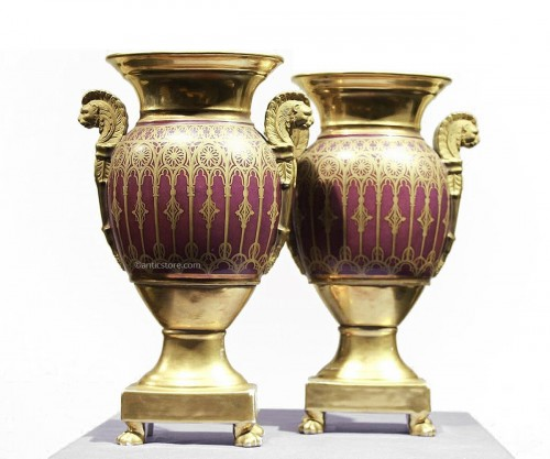 Pair of Paris porcelain vases, Charles X period