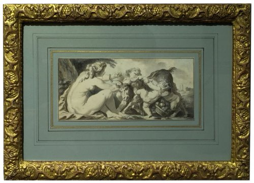 Nymph playing with cherubs- attr. to Jacques-Philippe Caresme (1734 - 1796)