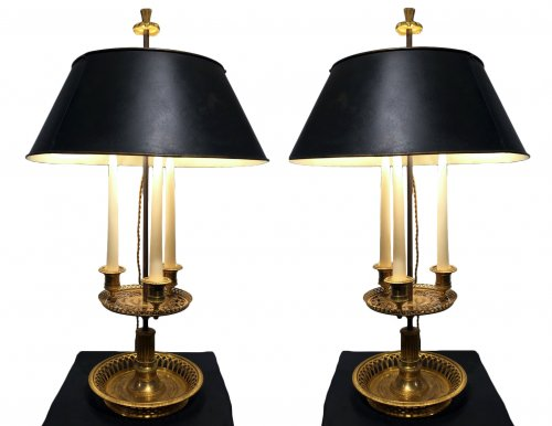 "Rare pair of ""bouillottes lamps"" - France late 18th  century"