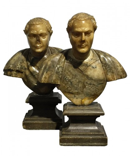 Pair of busts of Roman emperors, Italy 17th century