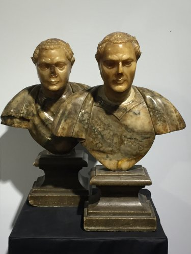 Antiquités - Pair of busts of Roman emperors, Italy 17th century