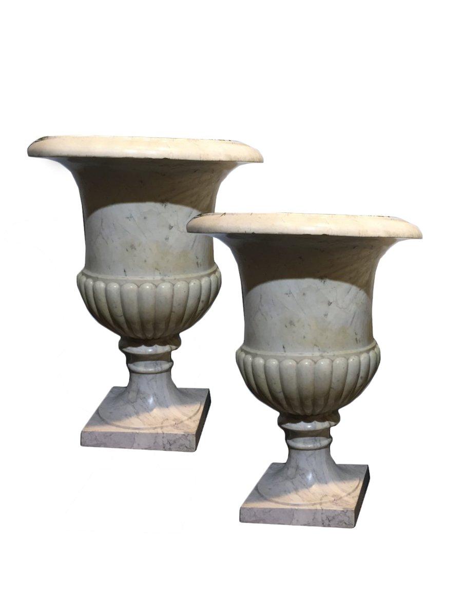 paire de grands vases m dicis en marbre xixe si cle. Black Bedroom Furniture Sets. Home Design Ideas
