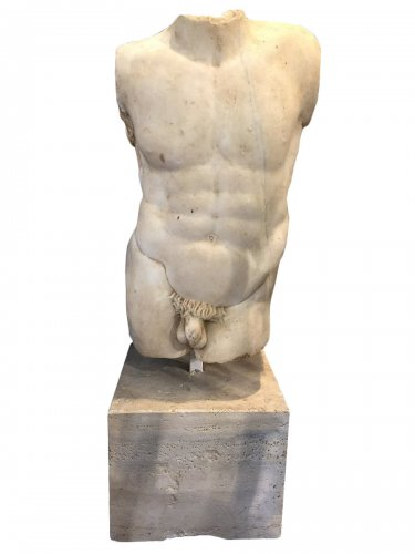 athlete at rest, marble torso