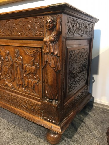 A late 17th century walnut chest -