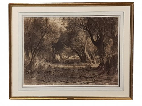 Undergrowth, by Antonio Fontanesi (Italian School) 1818 - 1882