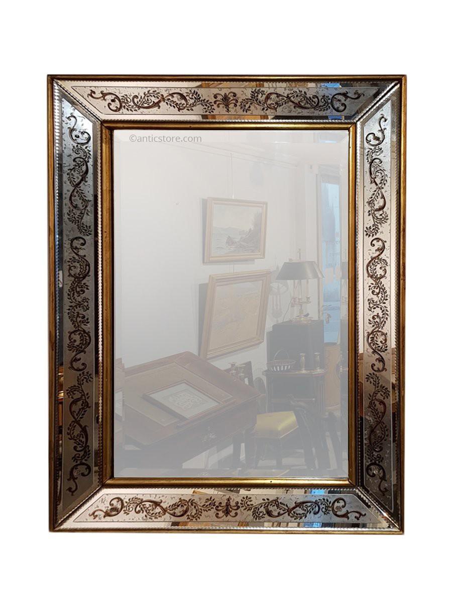 Grand miroir cadre en verre glomis xixe si cle for Grand miroir large