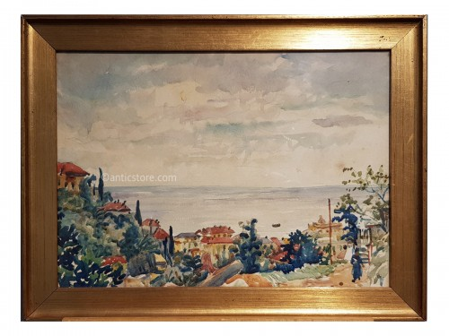 Giovanni Giacometti ( 1868-1934) - Watercolor depicting a view of Alassio