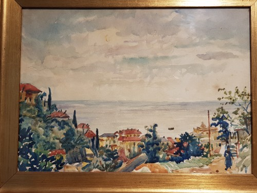 Giovanni Giacometti ( 1868-1934) - Watercolor depicting a view of Alassio -