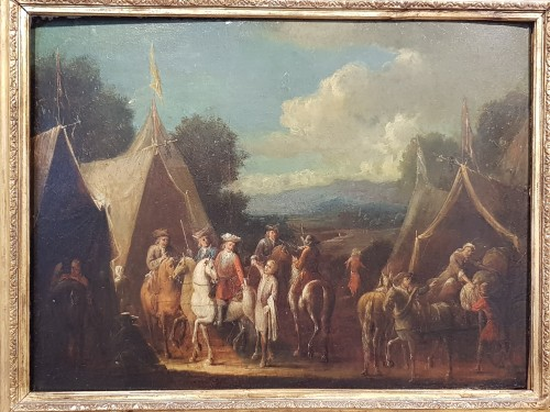 Camp Scenes - Flemish School of the 18th Century - Paintings & Drawings Style