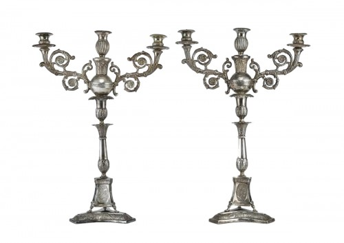 Pair of silver candelabra