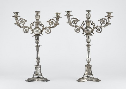 Pair of silver candelabra - Lighting Style
