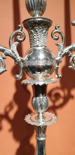 Lighting  - Pair of silver candelabra