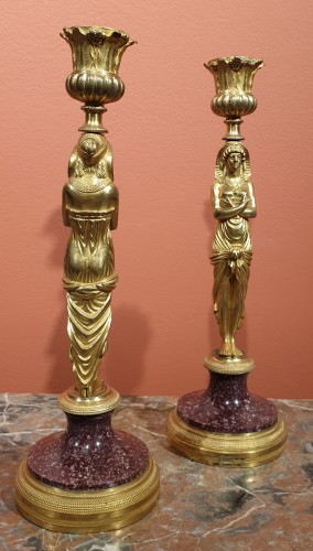 Pair of candlesticks in gilt bronze and porphyry - Lighting Style Restauration - Charles X