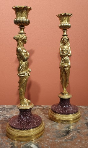 Pair of candlesticks in gilt bronze and porphyry - Restauration - Charles X
