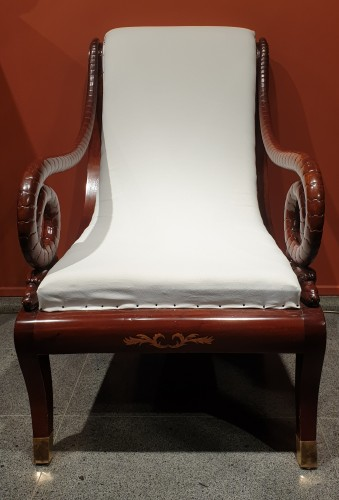 Large Russian mahogany armchair -