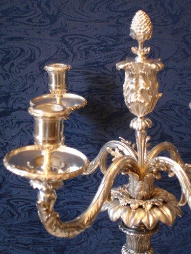 Lighting  - A pair of louis xvi style five-light candelabra