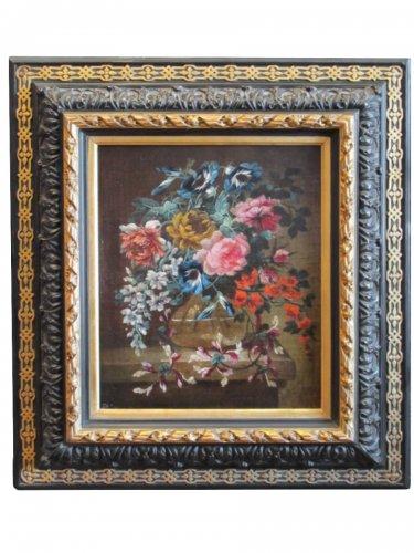 Flowers in a glass vase - 17th century Dutch school