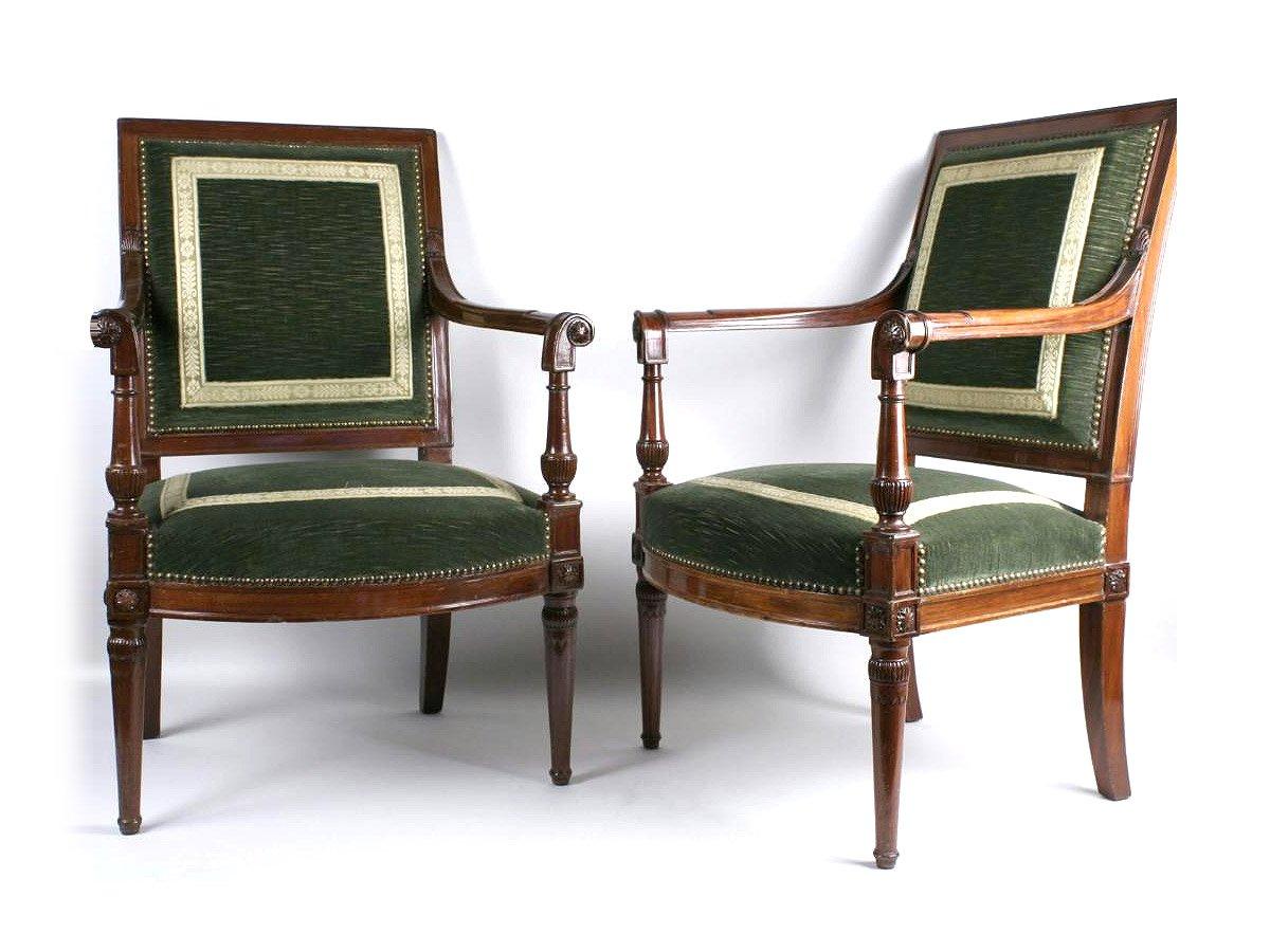 paire de fauteuils du ch teau de st cloud d 39 poque directoire xviiie estampill georges jacob. Black Bedroom Furniture Sets. Home Design Ideas