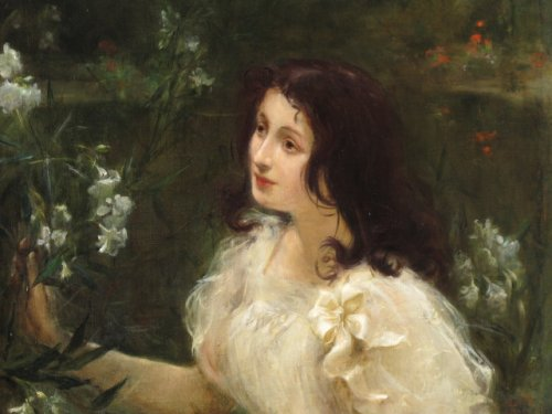 Young woman with flowers - L. Ollier 1899