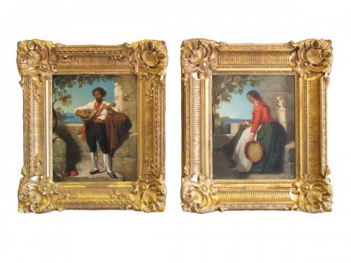 Dominique louis papety (1815 - 1849) Pair of portrait