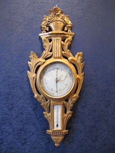 A Transition Louis XV - Louis XVI period barometer - thermometer
