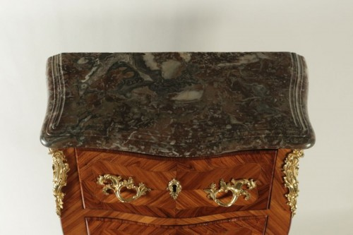 Furniture  - A Louis XV (1724 - 1774) period small commode stamped Ellaume