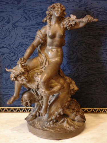 "Large Terracotta ""Faun and Bacchante"""