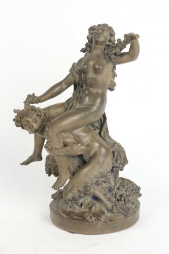 "Large Terracotta ""Faun and Bacchante"" - Sculpture Style"