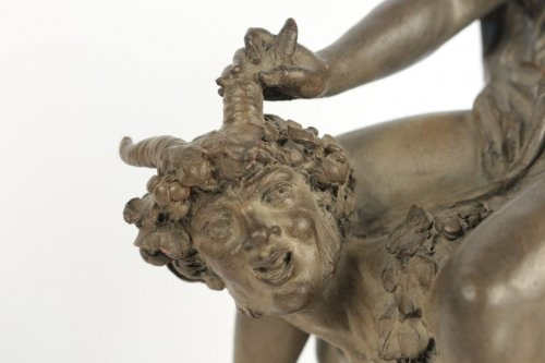 "Large Terracotta ""Faun and Bacchante"" -"