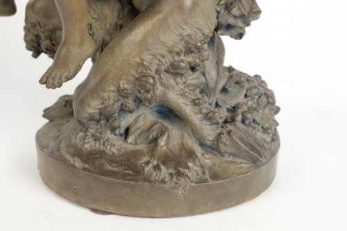 "19th century - Large Terracotta ""Faun and Bacchante"""